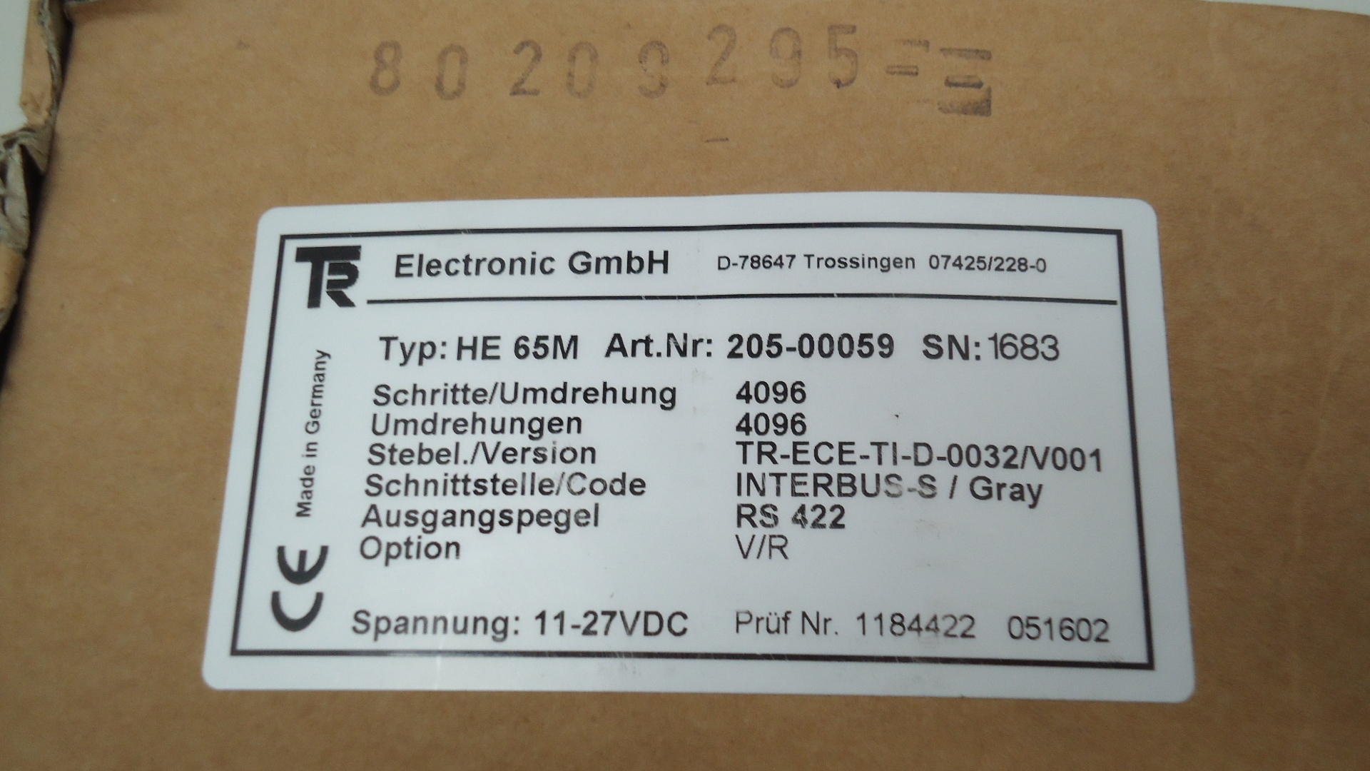 HE65M Encoder Can bus RS422 gray. code