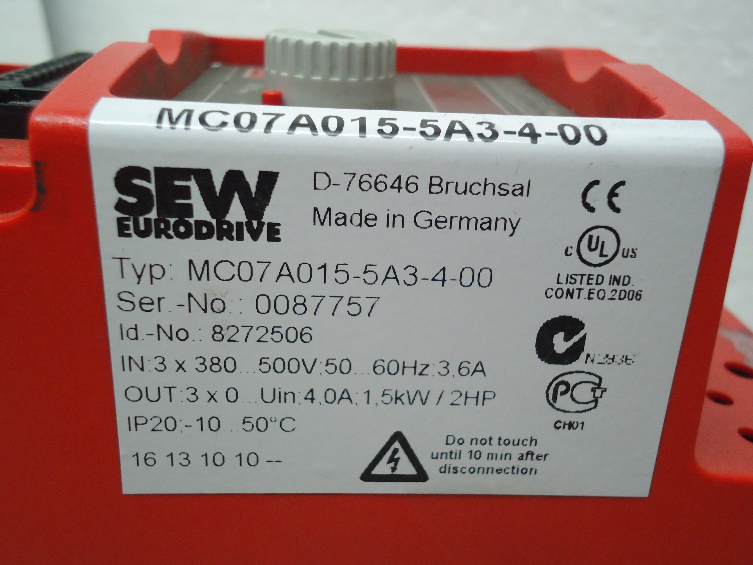 MC07A015-5A3-4-00 SEW Movitrac  sachnr0087757