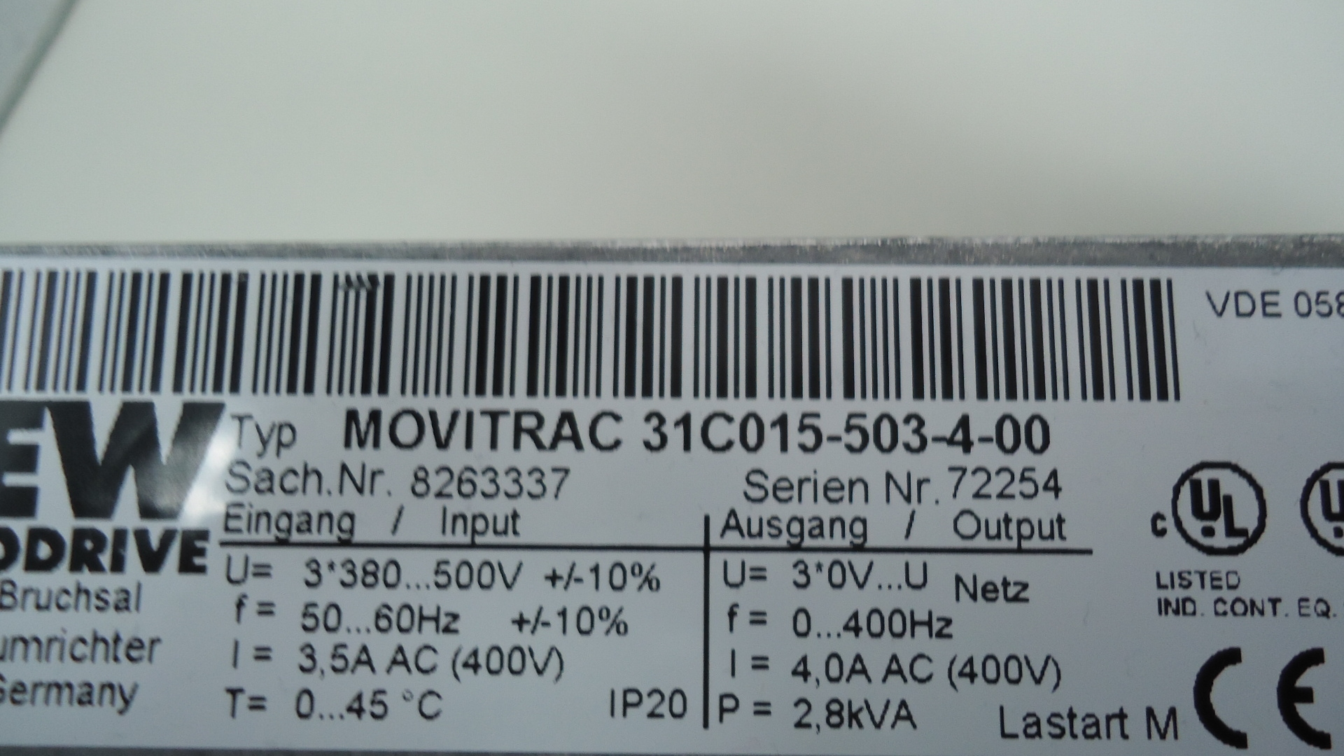 MC31C-015-503-4-00 SEW movitrac sachnr8263337