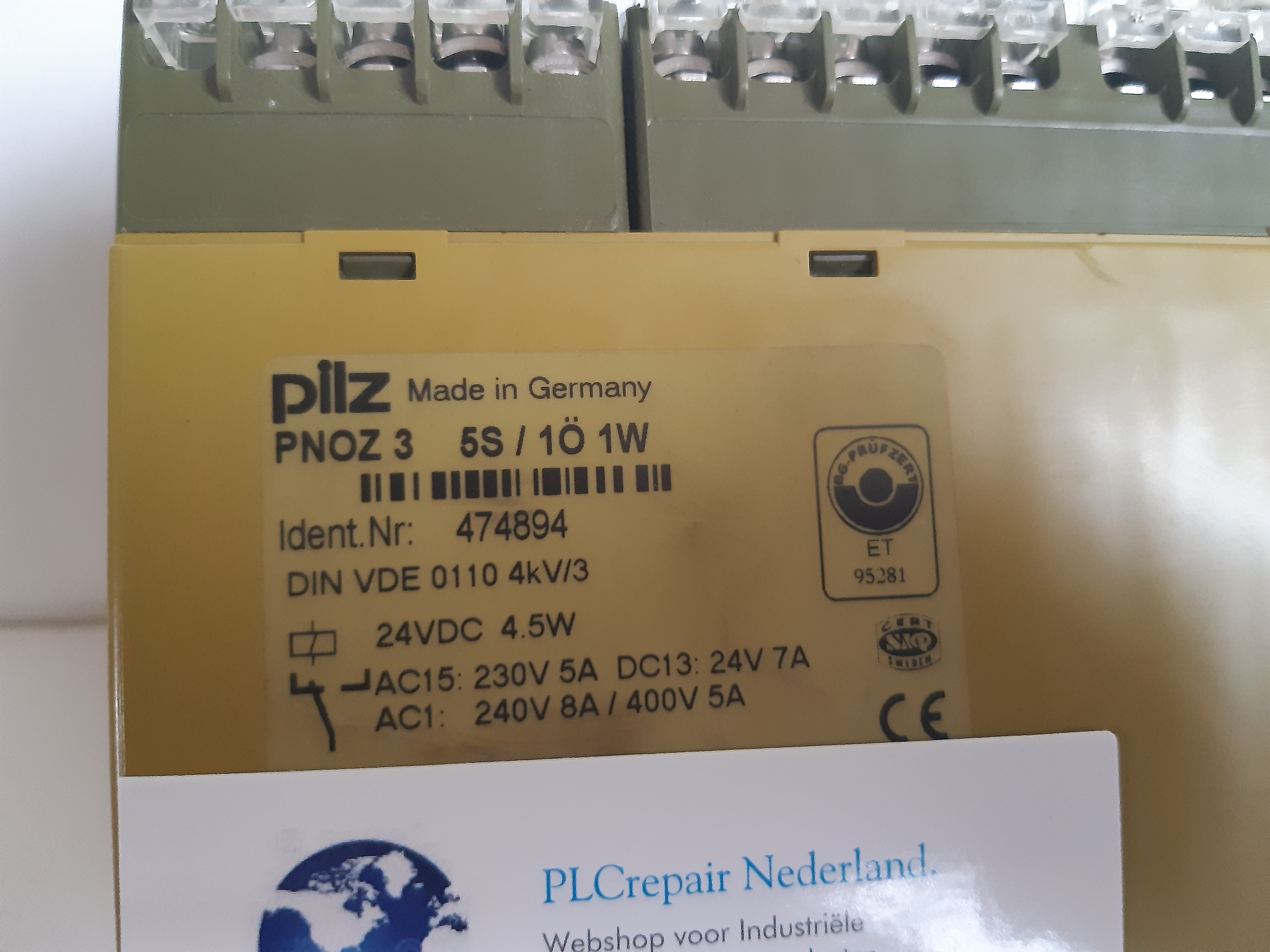 PNOZ 3 5S Pilz safety relay 24VDC Ident nr 474894.
