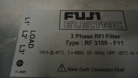 RF3100-F11 EMC Filter FUJI 3PH 100A 480VAC 50-60Hz